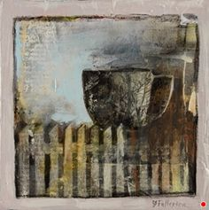 Hospitality-Collage by Joan Fullerton, Mixed Media, 8 x 8 x 7/8 Collage Artists, Mixed Media Artists, Mixed Media Collage, Original Paintings, Original Art, Art Paintings, Grey Art, Gray, Hanging Art