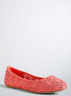 Crochet Round Toe Flats (Wide Width), SUNKIST CORAL