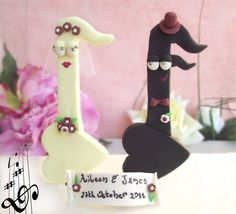 Music Notes wedding cake toppers - funny cute bride groom with banner. $66.00, via Etsy.
