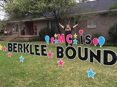 MC IS BERKLEE BOUND! What FUN for this talented singer to head off to Berklee!!! Way to Go, MC! Graduation Yard Signs, Dallas, Singer, Fun, Cards, Singers, Maps, Playing Cards, Hilarious
