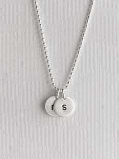 Round initial charm necklace stamped metal letter charm sterling initial tag necklace small circle initial necklace sterling silver ball chain hand stamped letter charm necklace round tag charm aloadofball Images