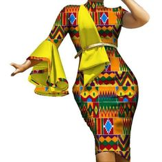 African Women Fashion Vestidos Ruffles Sleeve Draped Straight Dress