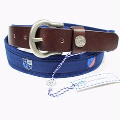 SOUTHERN TIDE MEN'S NAUTICAL BELT WITH SKIPJACK CREST NAVY. SIZE 42. NWT #SouthernTide