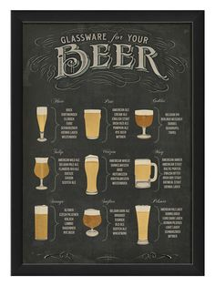 Beer Glassware Poster (Framed) by The Artwork Factory at Gilt