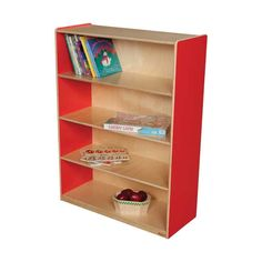 """WOOD DESIGNS \\ Bookshelf (48""""H).  GREENGUARD® Gold certified. Attractive bookshelf provides versatility in every room. Beautiful Healthy Kids Plywood, matching plywood back and our exclusive Tuff-Gloss™ UV finish compliment three fixed shelves to provide plenty of space for books, puzzles & more. Now available in Healthy Kids™ Colors! Fully assembled. Lifetime warranty."""
