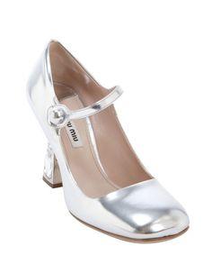 Miu Miu silver leather square toe jewel encrusted pumps