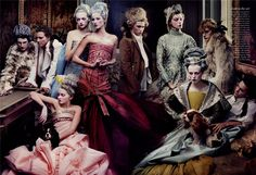 'French Twists' Vogue US May 2004 by Annie Leibovitz - Gemma Ward, Gisele Bundchen, Lily Cole, Daria Werbowy, & Karen Elson all in Dior Haute Couture by John Galliano S/S 2004