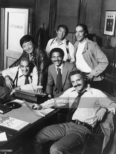 Premiere. Hal Linden (front), as Capt. Barney Miller, poses in a rare moment of relaxation, with members of his staff in their New York City precinct house, usually a center of hectic activity, in the new ABC Television Network comedy series, Barney Miller, which premieres with the episode, 'Ramon,' on Thursday, Jan. 23, (8:00-8:30 p.m. EST). Others in the photo are (front row) - Abe Vigoda, (left) and Ron Glass. back, left to right are: Jack Soo, Max Gail and Greg Sierra.