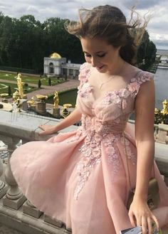 pink flower short homecoming dresses, cute short prom dresses, v neck party dresses