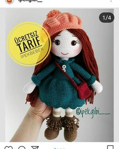 Hello dear amigurumi lovers again, this is a nice work of silk is a recipe for the page. How about knitting these amigurumi dolls made. Knitted Doll Patterns, Knitted Dolls, Crochet Dolls, Knitting Patterns, Crochet Patterns, Crochet Hats, Crochet Birds, Crochet Food, Crochet Bear