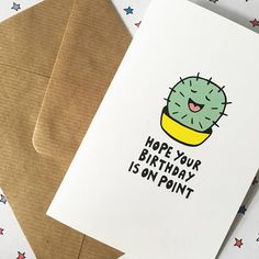 You cant go wrong with this cactus birthday card... it doesnt suc(culent) thats for sure. This funny birthday card features a fun birthday pun and a super cute cactus. I hand-drew the cactus design and lettering, then digitally coloured to make it the perfect pun birthday card. Ideal