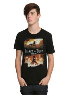 Attack On Titan Fire Slim-Fit T-Shirt