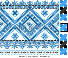 two colors embroidered good like handmade cross-stitch ethnic Ukraine pattern by mycola, via ShutterStock