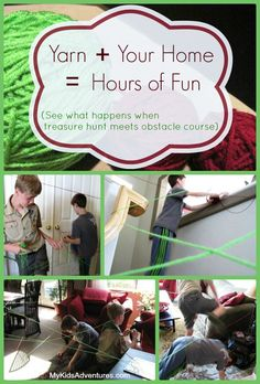 Stringing - a treasure hunt that's part obstacle course, part laser maze and all fun in your home. From MyKidsAdventures.com