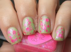 Everloving Pink is full of assorted fluorescent glitters accented with iridescent blue sparks and neon hot pink microglitter in a clear pink-shimmered base. Layered 1 coat over 3 coats of Wet n Wild Stand the Test of Lime.