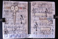 #artjournal pages by Barbarella using 3rd Eye #stamps <3 #stamping #papercraft #journal #visualjournal #ink #scissors