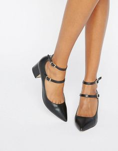 Image 1 of Miss Selfridge Double Strap Pointed Heeled Shoes