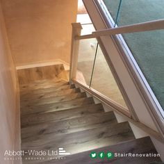Staircase in Arlington Oak with white risers, built in lights & glass balustrade. Stained Staircase, White Staircase, New Staircase, Staircase Design, Stair Banister, Banisters, Stairs, Bespoke Staircases, Traditional Staircase