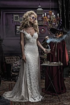 olvis 2017 couture bridal off the shoulder v neck full embellishment elegant sheath wedding dress sweep train (2149) mv