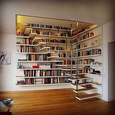 Ideas Home Library Ideas Diy Bookshelves House Book Stairs, Attic Stairs, Garage Attic, Attic Floor, Attic Ladder, Attic Window, House Stairs, Bibliotheque Design, Home Libraries