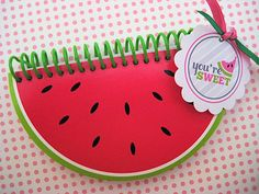 Folded watermelon card - so cute for summer and not too time consuming. Watermelon Wedding, Watermelon Birthday Parties, Watermelon Patch, Watermelon Decor, Diy And Crafts, Paper Crafts, Diy Notebook, Kawaii Stationery, Birthday Favors
