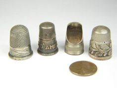 TERRIFIC LOT of 4 ANTIQUE VICTORIAN SILVER GOLD SEWING THIMBLES c1890