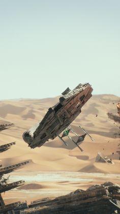 Movie Star Wars Episode VII: The Force Awakens Star Wars Millennium Falcon Tie Fighter Mobile Wallpaper
