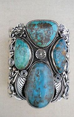 Navajo Silver and Turquoise Bracelet/Cuff ALBERT CLEVELAND Heavy MASSIVE *746