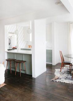 Sarah Sherman Samuel: Home Progress: Kitchen Pendants & Breaking Ground Half Wall Kitchen, Kitchen Wall Colors, Open Plan Kitchen, Living Room Kitchen, Dining Room, Kitchen Paint, Kitchen Ideas, Dining Table, Knock Down Wall
