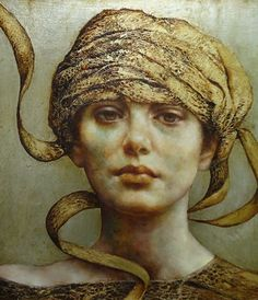 """Unraveling "" - Pam Hawkes; oil, beeswax and Dutch metal on panel {contemporary figurative artist beautiful female head wrap woman face portrait mixed-media painting}"