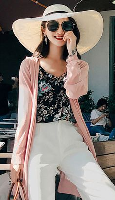 Fashiontroy Holiday collection beachwear bohemian long sleeves V-neck pink solid color beach long cardigan spring summer