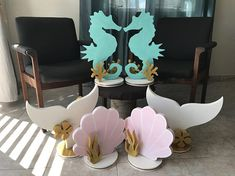 Your looking at a handmade drawing and painted Mermaid tail backdrop or Centerpieces. The measure of the tail is 30 in. x 24 in. and 1 in. thick made of Styrofoam. Item is painted with acrylics sealer for protection. You can put it in a table or hanger in a wall and decorated your