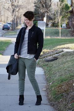 Already Pretty outfit featuring moto jacket, striped tee, skinny cargo pants, black ankle boots, fringe handbag
