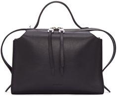 JIL SANDER Black Small Clover Bag. #jilsander #bags #shoulder bags #hand bags #suede #lining #