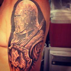 My husband's amazing knight tattoo by Matthew Brown @ Venom Ink. Pin Up Tattoos, Badass Tattoos, Tattoo You, Tattos, Knight Tattoo, Black And Grey Tattoos, Venom, Knights, Tattoo Inspiration