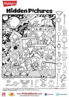 Highlights Hidden Pictures, Highlights Kids, Hidden Picture Puzzles, Hidden Object Puzzles, Hidden Picture Games, Hidden Pictures Printables, Puzzle Books, Home Schooling, Worksheets For Kids