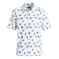 Quiksilver Men's Mini Palms Shirt // Premium textured polynosic fabric is what thisshirt is made of and also features a sand wash treatment.