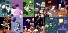 "Art work by someone under the name ""Pixel"" who spent 10 years developing a small indie game called Cave Story that became a big hit. I love its tone and mysterious plot. These are stills displayed during the credits of the game based on characters, locations, and scenes throughout the game.  Source: http://www.cavestory.org/game-info/ending-illustrations.php"