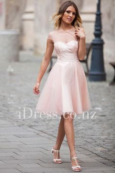 cap sleeved illusion neck knee length pink tulle prom dress