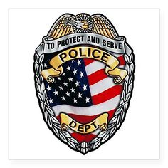"""CafePress - Police To Protect And Serve Sticker - Square Bumper Sticker Car Decal, 3""""x3"""" (Small) or 5""""x5"""" (Large)  Express yourself with the design that fits your sense of humor, political views, or promotes your cause and beliefs.  Our high quality bumper sticker is printed on durable 4mil vinyl with premium inks that resist the sun and elements, so your message will last for the long haul.  These car decals are the perfect indulgence for your passion, or make great novelty prank gift..."""