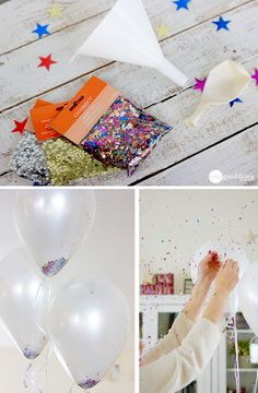 Fill balloons with confetti and pop them at midnight - so fun!! This and other great DIY ideas for New Year's :-)