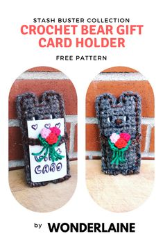 Crochet Gift Card Holder. So cute and easy, you can make it in no time! Subscribe at www.wonderlaine.net and don't miss out on the fun!