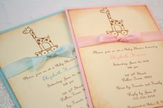 Giraffe Baby Invitations Vintage Style - You Choose Color Set of 10 Love the vintage look!!!