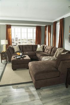 oversized sectional | ... Delta City Brown Microfiber Oversized Plush Sleeper Sectional Sofa Set