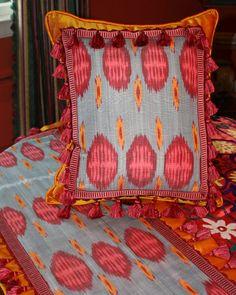 Handmade silk Pillow and Table Runner by Bird Hill Art & Design... available at www.galeriebonheur.com