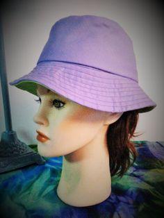 Summer Sun Hat Bucket Style Purple Lime Green by SewDangKewl