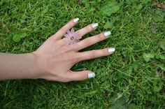 Ring with Pink Flower Petals by Perlenrausch