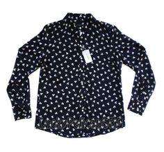 J. Crew Silk Boy Shirt Button Down Blouse Top Navy Blue French Hen XL