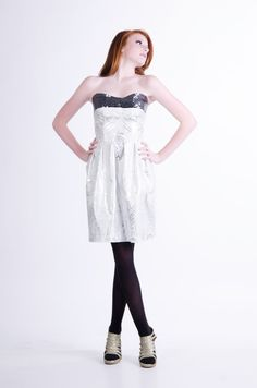 White and Silver Dress with Sequins by allfieruth on Etsy, $135.00