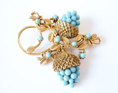 Vintage 1940s Gold Turquoise Berry Brooch by PopAndGlamVintage